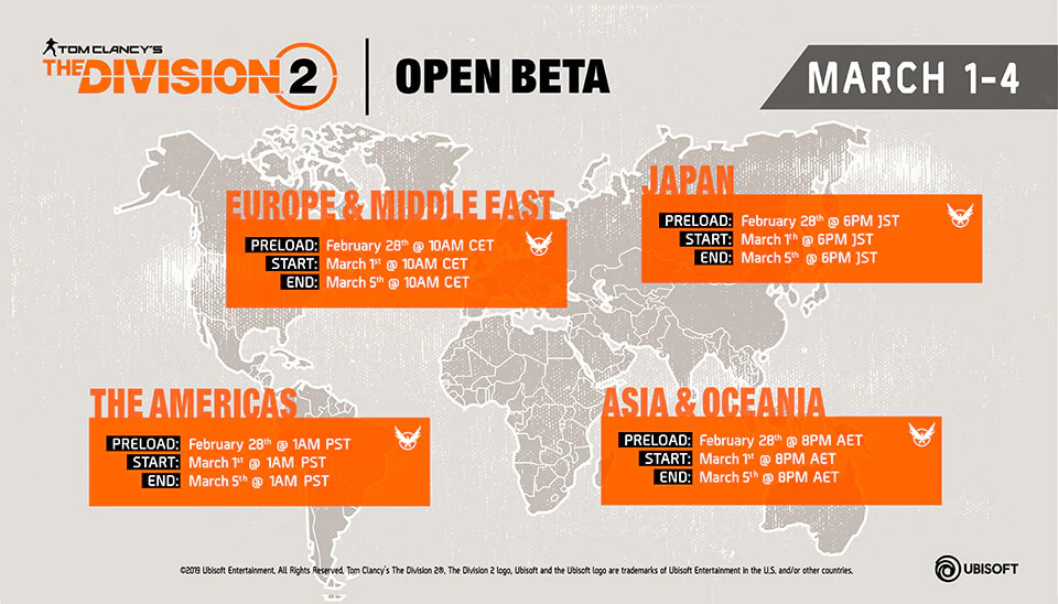 Tom Clancy's The Division 2 Open Beta Startzeit Übersicht